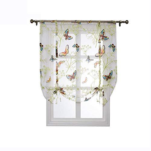 FOONEE Short Finestra Tende, Farfalla Floreale Semi-Sheer Roman Tende, per Cucina, Camera da Letto, casa, caffè, Negozio Decorazione, 140 * 140cm