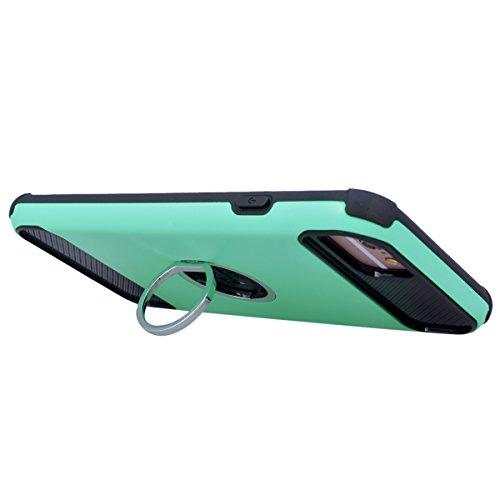 GrandEver Coque iPhone 7 Plus Rigide Dur Dure Hard Backcover [ Kick Stand ] Support Bague Ring Design Vintage Antichoc Case 2 en 1 de Protection Ultra Fine Slim Housse Resistante Etui pour iPhone 7 Pl Vert