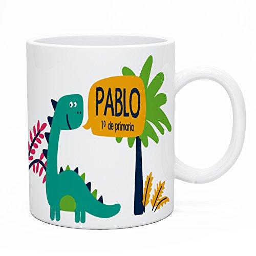 Regalo Original Taza de plástico Infantil Personalizada con Nombre y Dinosaurio para...