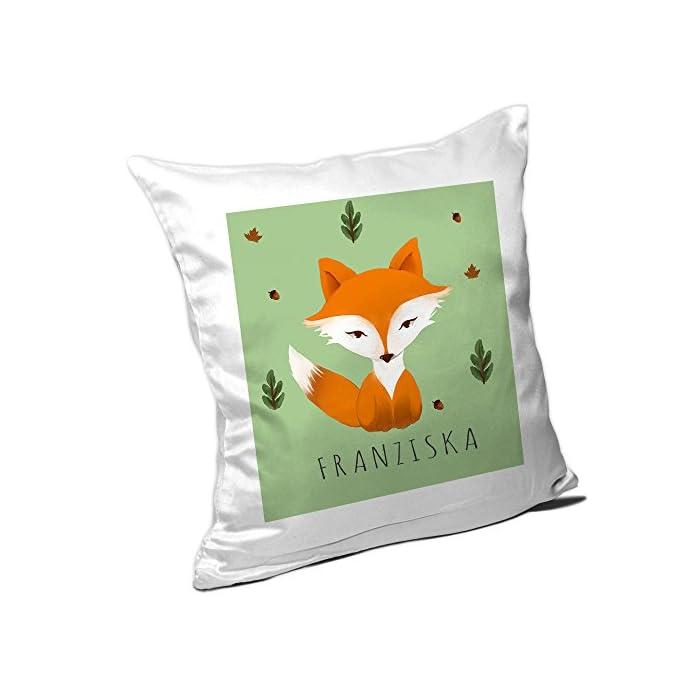 Eurofoto Kissen mit Namen Franziska und schönem Motiv mit Aquarell-Fuchs für Mädchen | Namenskissen personalisiert…