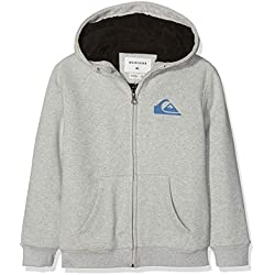 Quiksilver Best Wave Sherpa Sweat-Shirt à Capuche Sport Garçon Gris (Light Grey Heather Sjsh) 14 Ans (Taille Fabricant: L/14)