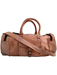 Leather Bag Vintage Genuine 24'' Round Duffle Cum Gym Bag By Znt Bag Kfd - 5018