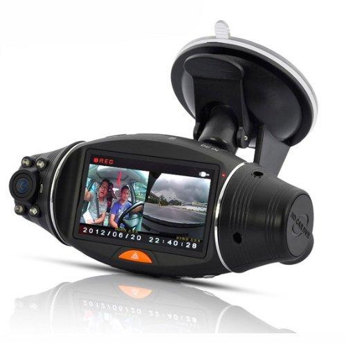 BW 2.7 pollici di schermo ruotabile Dual Camera DVR con GPS Logger e GPS Sensore di visione notturna SC310
