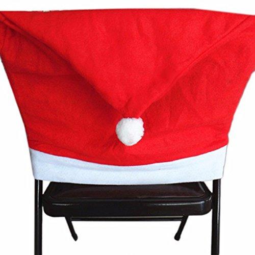 GillBerry 4 PCs Encantador Papá Rojo Sombreros Para Sombreros Decoraciones De Navidad Cena Silla De Navidad Cap Conjuntos (Rojo)