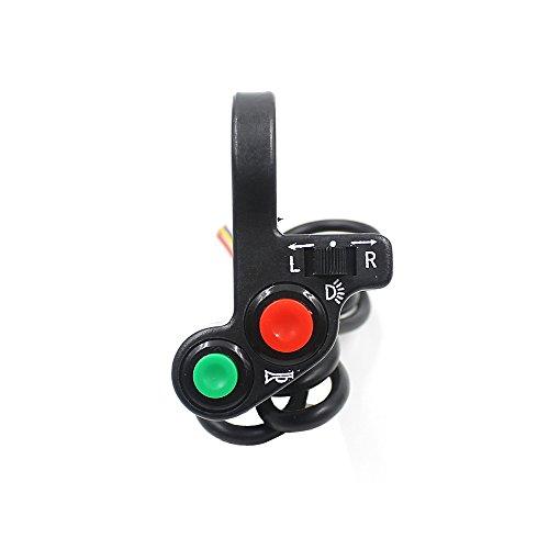 RAXFLY Motorrad Dreirad Horn / Blinker Licht / Scheinwerfer Multifunktion Kombischalter - Schwarz Blinkerschalter Nebellichtschalter Licht Hupe Horn Schalter 7/8