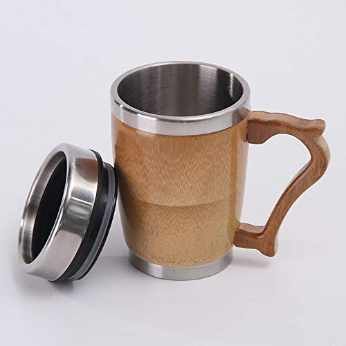 sfsfgfjhgkhj Office Water Cup with Cover and Handle Stainless Steel Insulated Cup Creative Bamboo Shell Gift Cup