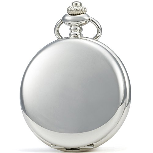 SEWOR Classic Smooth Face Mechanical Hand Wind Pocket Watch + Best Leather Gift Box (Silver)