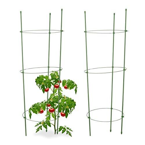 Relaxdays Rankhilfe Tomaten, 2er Set, Höhenverstellbare Ringe, Pflanzstäbe, Balkon, Beet, Kunststoff, 76 cm lang, Grün