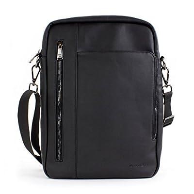 Tablet Tasche, Snugg - 12.9'' Zoll Leder- Schultertasche Umhängetasche für iPad Pro, Galaxy Tab, Microsoft Surface und Tablets - (Schwarz)