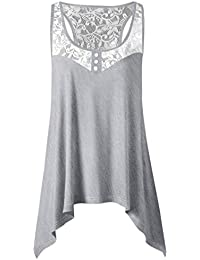 Racerback Vest T-shirt Kanpola Ladies Summer Irregular Lace Stitching Tank Top Womens Casual Blouse Tops Shirt
