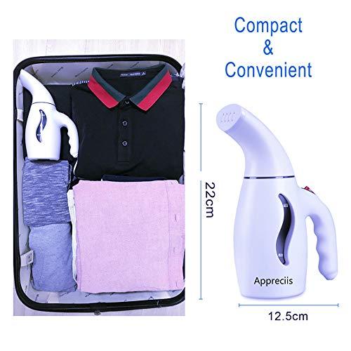 Appreciis Mini-tragbare Reise-Hänge-Kleidung, Stoff, Kleidungs-Dämpfer/Kleidungsdampfbügeln/Tragbarer Stoff-Dämpfer - schnell trocknend, Handheld-Design, perfekt für zu Hause