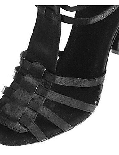 ShangYi Chaussures de danse ( Noir / Violet / Léopard ) - Personnalisables - Talon Personnalisé - Satin - Latine / Salsa / Samba leopard