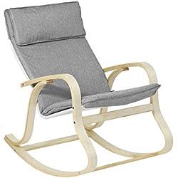 SoBuy® FST15-DG Rocking Chair, Fauteuil à bascule, Fauteuil berçant, Fauteuil relax, Bouleau Flexible -Gris