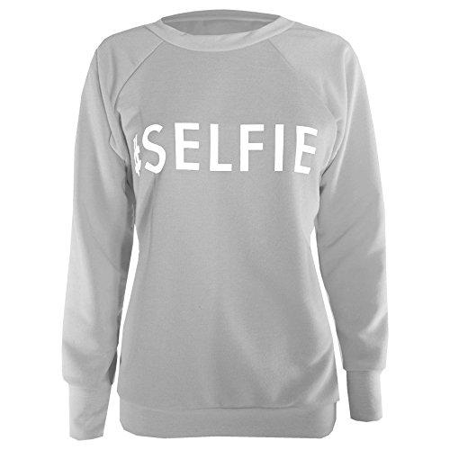 Oops Outlet -  Pantaloni sportivi  - Donna #SELFIE Sweatshirt Grey - Cotton Tracksuit