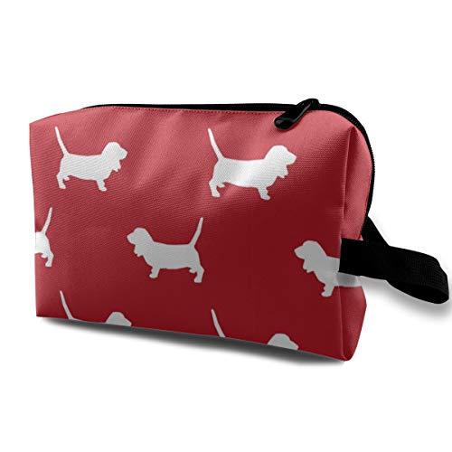 Basset Hound Pet Quilt A Silhouette Hund Rasse Stoff Coordinate_2136 Kulturtasche Kosmetiktasche Tragbare Make-up-Tasche Reise-Organizer Tasche für Frauen Mädchen 25,4 x 12,7 x 15,2 cm