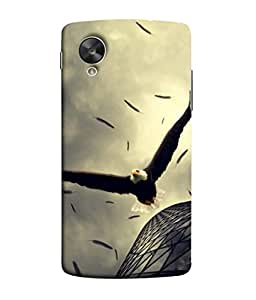 PrintVisa Designer Back Case Cover for LG Nexus 5 :: LG Google Nexus 5 :: Google Nexus 5 (Eagle Vulture Fly Blocks Building )