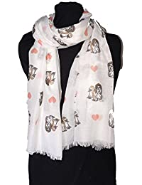 Pamper Yourself Now White Shih Tzu dog Long Scarf with frayed edge