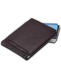 Tatkldisu Cartera de Tarjeta de crédito de Cuero Genuino Titular de Tarjeta de crédito RFID (