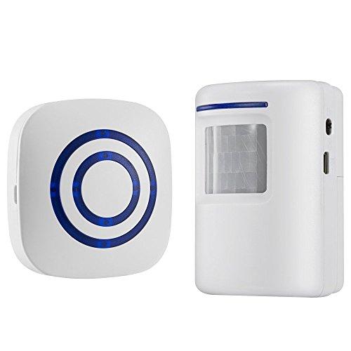 AJUSEN Wireless Home Security Auffahrt Alarm: Infrarot Bewegungssensor Tür Bell Alarm Glockenspiel mit 1 Empfänger und 1 Sensor -38 Alarm Music - LED-Anzeigen