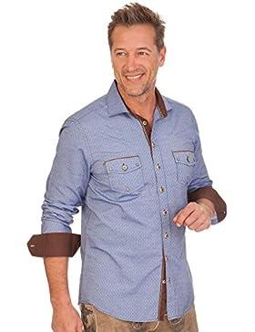 Trachtenhemd mit langem Arm - LENNARD - blau