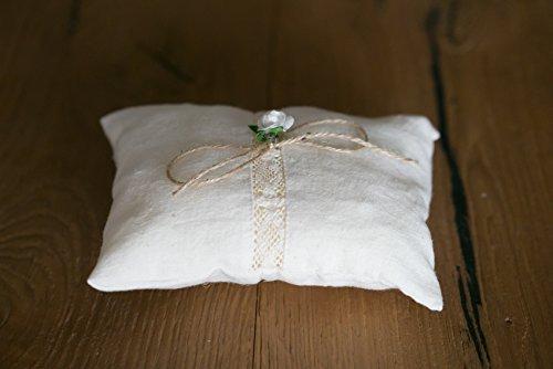 Cojin alianzas boda porta alianzas cojin anillos boda tela de algodon encaje y lazo de arpillera para sujetar los anillos medidas 15x12 cm.