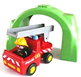 playmobil ® 123/1 2 3 - Feuerwehr Auto Leiterwagen mit Feuerwehrmann und Brücke