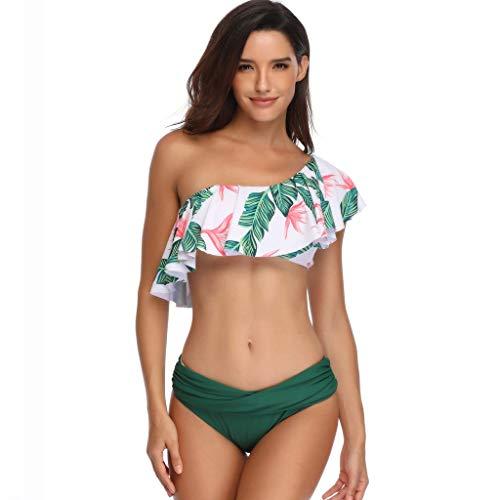 TUDUZ One Shoulder Mutter und Tochter Bikini Set High Waist Bedrucken Volant Eltern-Kind Kleidung Familien Badeanzug Damen Bikini(X-Large,A-Grün) Neckholder Volant-kleid
