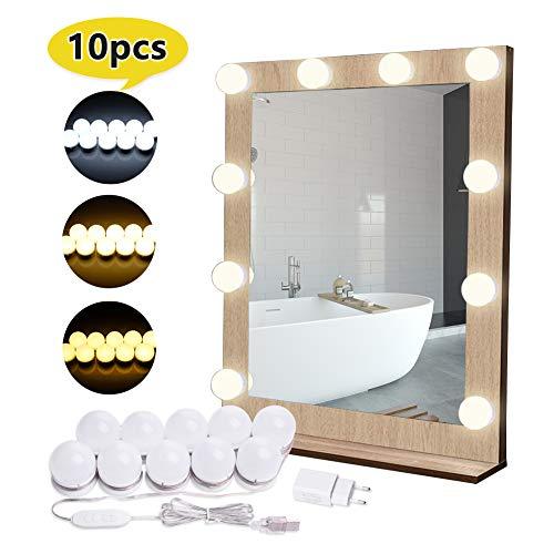 Luces de Espejo de Tocador EVILTO Espejo de Maquillaje LED Kit con 10 Piezas Bombillas Brillo y USB Puerto con Estilo Hollywood, Brillo de 10 Niveles y 3 Colores: Blanco, Color Cálido, Blanco Cálido