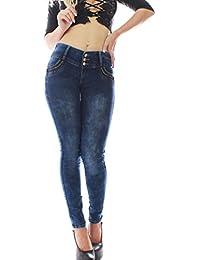 FARINA®1331 Pantalon vaquero de mujer, Push up/Levanta cola, pantalones elasticos colombian,color azul oscuro,talla 34-48/XS-3XL