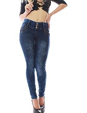 FARINA®1331 Pantalon Vaquero de Mujer, Push up/Levanta Cola, Pantalones Elasticos Colombian,Color Azul Oscuro,...