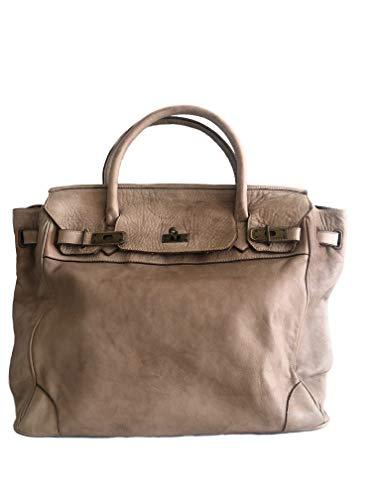 MASSIMA BARONI Damen Handtaschen Modell Saint Tropez Leder Schultertasche Leder Handtasche Made in Italy (BEIGE)