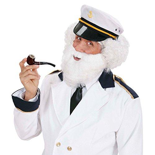 Weißer Fasching Bart mit Moustache Vollbart Kapitänsbart Faschingsbart Karnevalsbart Riesenbart ()