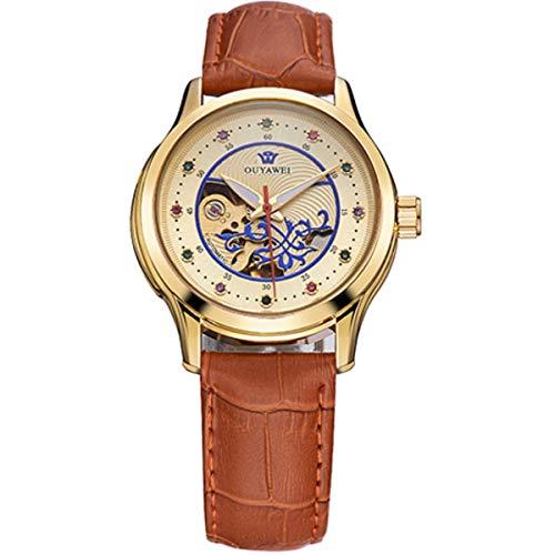 Damen Luxus Golden Mechanische Automatik Armbanduhr Skelett Automatikuhr Uhr Herren Uhren Strass Skala Braun-Lederband Band (Braun-skala)