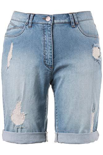 Plus Size Shorts (Ulla Popken Damen große Größen bis 56 | Boyfriend-Jeansshort | 5Pocket Style, Destroy Effekte, Saum mit Umschlag | Denim Stretch | Light Blue 48 706134 91-48)