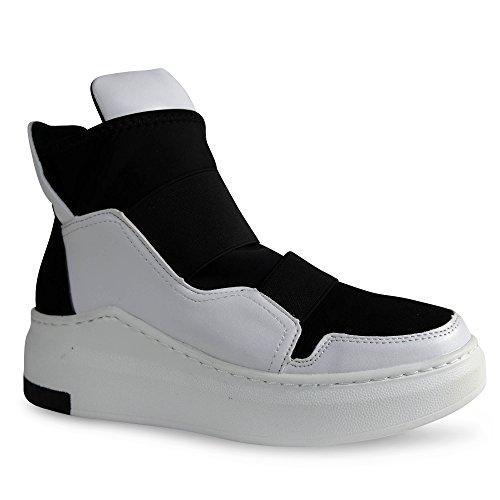 Damen Sneakers Keilabsatz Wedge High Top Turnschuhe Sportschuhe ST321 Weiß
