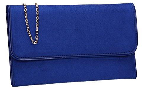 Swankyswans Damen Amanda Suedette Slim Clutch, 3x15.5x25.5 Centimetri Blau (royal Blue)