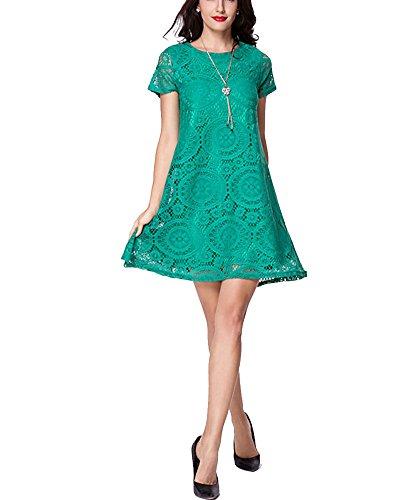 Femme Dentelle Manche Courte Haut Mini-robe Vert