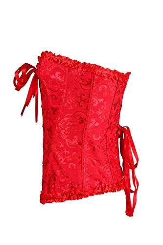 HYSENM Damen Unterbrustkorsett Unterbrustcorsage Plastikknochen Stoffdruck mit Spitze bunt inkl. G String Rot