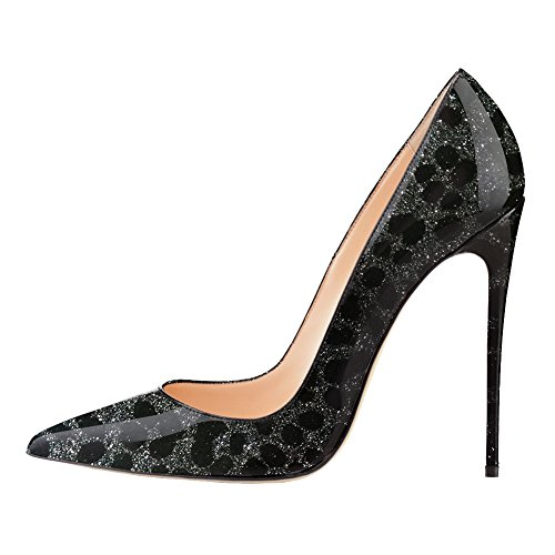 EKS , Sandales Compensées femme Schwarz Leopard