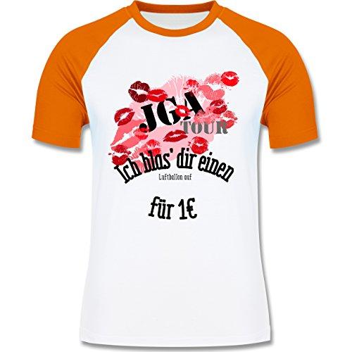 JGA Junggesellenabschied - JGA Tour - Ich blas dir einen Luftballon auf - zweifarbiges Baseballshirt für Männer Weiß/Orange