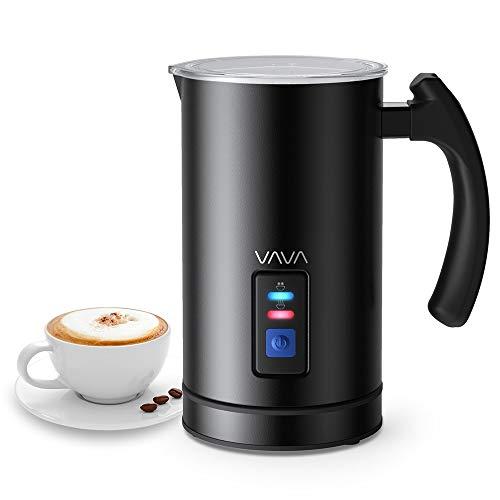 Montalatte Elettrico VAVA Schiumatore Acciaio Inox Caffè Latte Caldo Freddo Antiaderente Controllo Temperatura Strix Indicatore Livello,cappuccinatore(Nero)