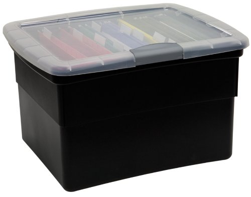 United Solutions United Solutions Snap and Lock Plastic File Tote, Black