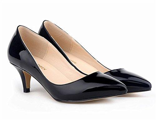 Wealsex Escarpins Vernis PU Cuir Talon Aiguille Bout Pointu Talons Moyen 6 CM Style OL Classique Femme Noir