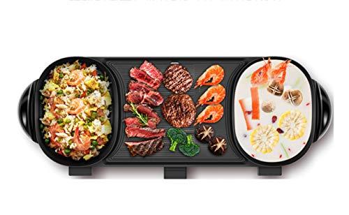 NANXCYR BBQ PotMultifunktionaler, Rauch loser BBQ-Doppel Topf-Elektro-backpfanne Top Round Steak