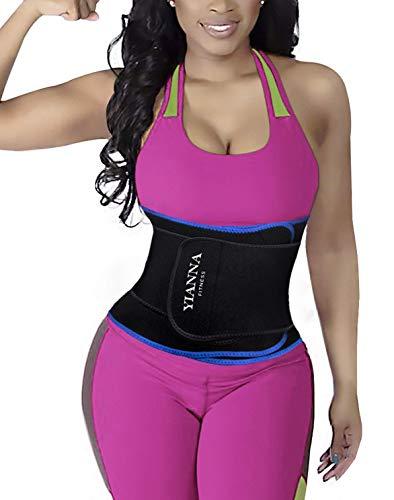 YIANNA Abnehmen Bauchweggürtel 12 Stahlknochen Sport Fitness Schwitzgürtel für Herren und Damen,UK-YA8010-Blue-L