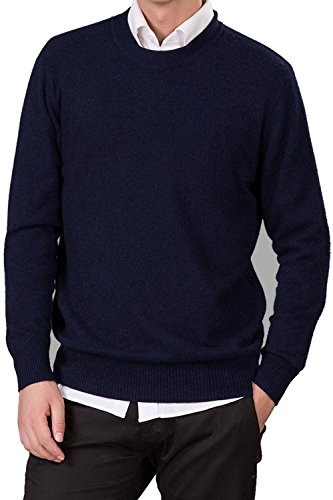 LongMing Herren Männer Kaschmir Wolle Rundhals Pullover Langarm Freizeit Winter Pulli Komfort-fit/bequeme Form vielseitig kombinierbar Navy Blue
