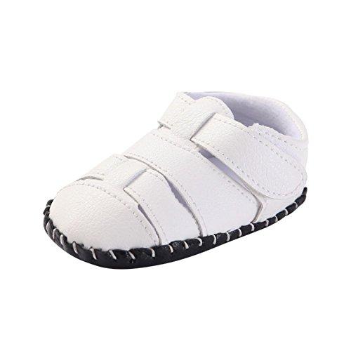 MiyaSudy Chaussures Bébé Garçons Cuir Velours été Antiglisse Multicolore Semelle Doucesandales Blanc