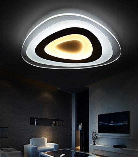 Luz de Techo Minimalista Acrílico Ultrafina Lamparas de Techo Moda LED Lámpara Dormitorio 13W Triángulo Interno Blanco Cálido Out Blanco Frio