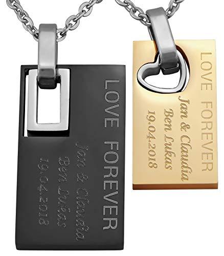 Hanessa Gravierte Edel-Stahl Kette Partner-ketten mit Wunsch Gravur Edel-Stahl Anhänger in Gold und schwarz. Edelstahl Ketten in Silber Schmuck für Paare