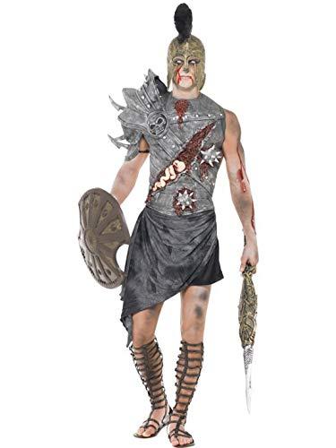 erdbeerclown - Herren Männer Kostüm blutiger Horror Zombie Gladiator, perfekt für Halloween Karneval und Fasching, L, Grau